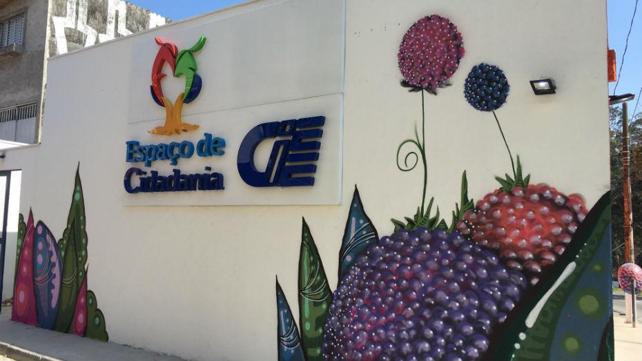 Fachada do Espaço de Cidadania do Grajaú fia na Avenida Dona Belmira Marin