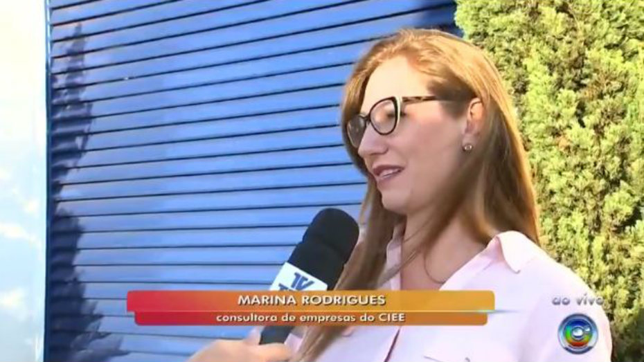 Marina Rodrigues consultora do CIEE em entrevista para a TV TEM