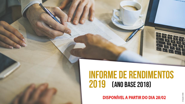 Banner com texto Informe de rendimentos 2019 ano base 2018