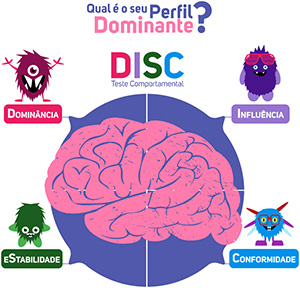 Diagrama dos perfis do teste comportamental DISC - Dominância, Influência, Estabilidade e Conformidade