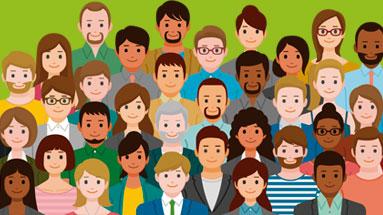Ilustração de diversas pessoas de etnias e idades diferentes