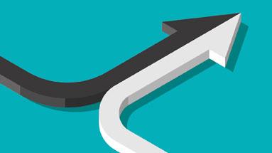 Ilustração composto por duas setas indicando um caminho