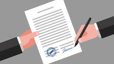 Ilustração mostrando a assinatura de um contrato