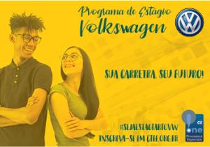 banner com foto de um casal de estudantes com o texto: programa de estágio volkswagem