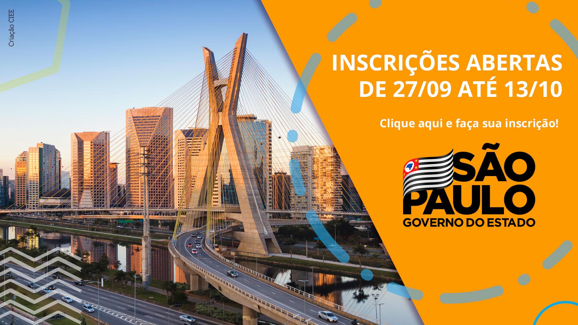 Banner com foto da ponte estaiada em São Paulo e o texto: inscrições abertas do dia 27/09 até dia 13/10 para o governo de são paulo
