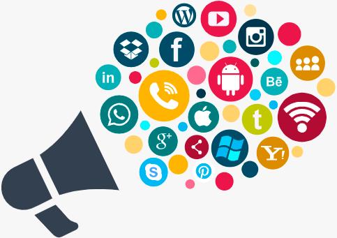 Ilustração de um megafone com diversos icones redondos e coloridos representando diversas redes sociais