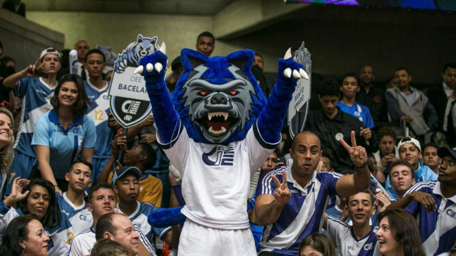 imagem de homem fantasiado de lobo azul com camisa do CIEE, animando torcida e ginásio de esportes