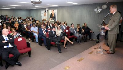 visão de cima de um palco durante apresentação em auditório, com orador ao microfone