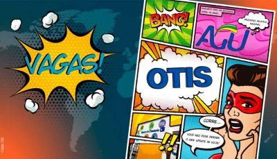"""À esquerda da imagem, a palavra """"vagas"""" aparece como uma onomatopeia. Do lado direito, tem uma página de histórias em quadrinhos com a onomatopeia """"Bang"""", os logo da AGU e da Otis e uma mulher com máscara vermelha."""