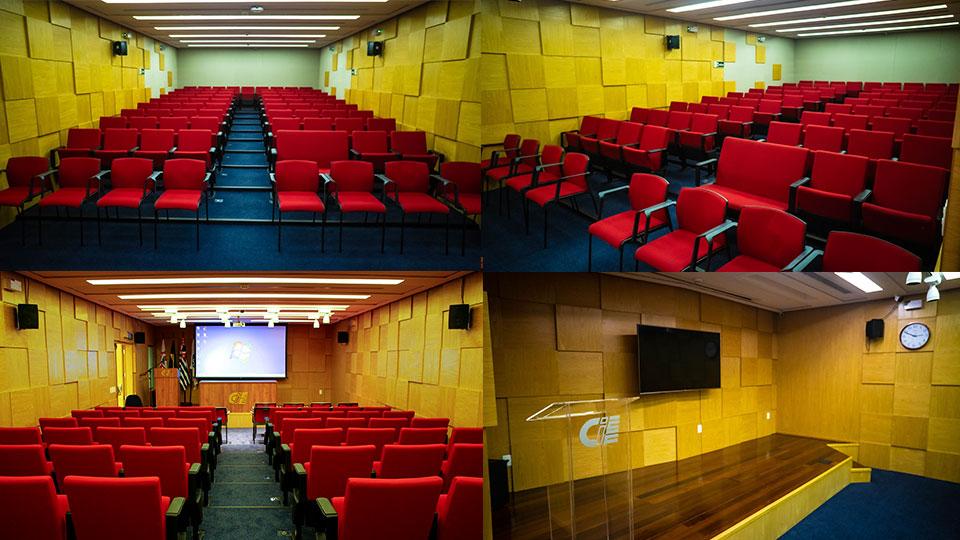 Vistas do auditório Olavo Setubal, que compõe de um palco, com equipamentos de áudio e vídeo, com capacidade para até 80 espectadores