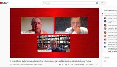tela do youtube com palestrantes