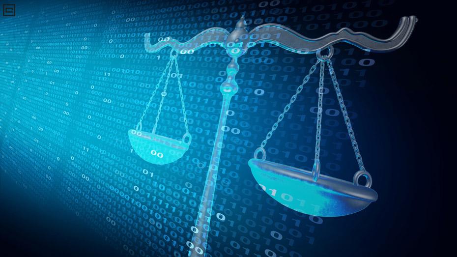 Imagem de uma balança misturando ambiente do Direito e Dados