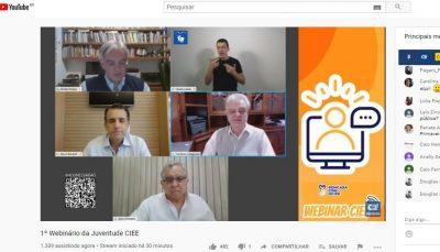 5 participantes do webinario ciee durante transmissão pelo Youtube