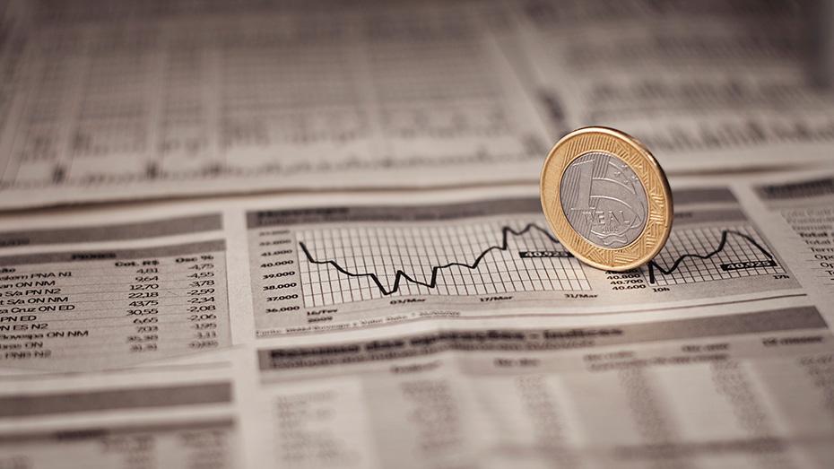 moeda no fundo de gráficos