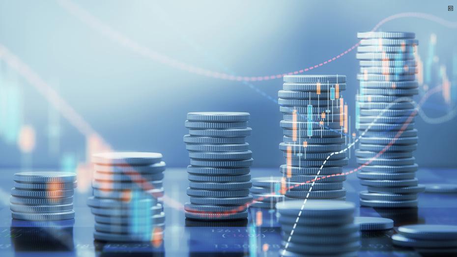 imagem com pilhas de moedas imitando graficos