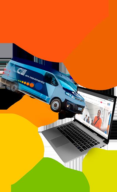 Carro do CIEE em Movimento com bolinhas coloridas ao fundo e um notebook aberto