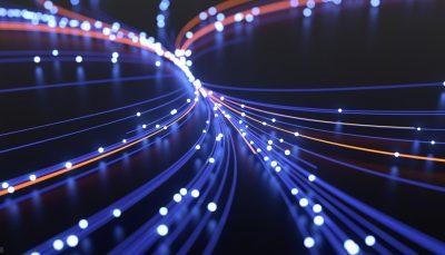 Efeitos gráficos imitando fibra ótica azul e vermelha em fundo preto