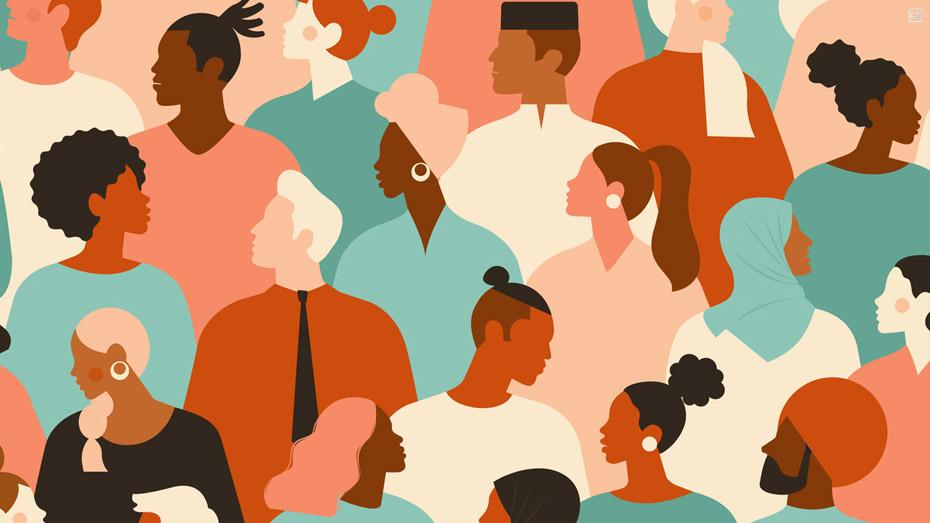 Ilustração mostra pessoas de diferentes características reunidas em ambiente corporativo