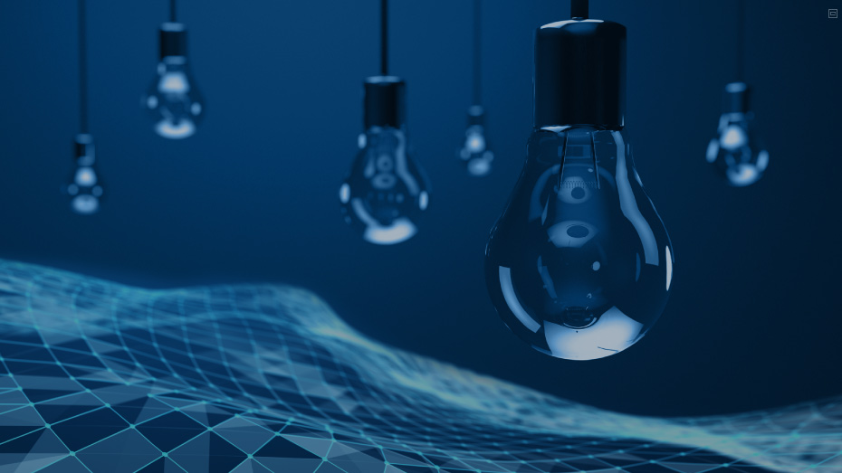 Foto em tons de azul de lâmpadas apagadas sobre um grafismo geométrico