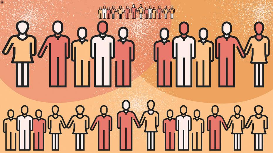 Desenho que mostra pessoas de mãos dadas em homenagem ao Dia do Assistente Social