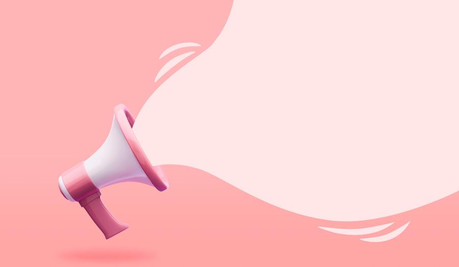Ilustração de um megafone rosa e branco flutuando e com onda em tom rosa claro