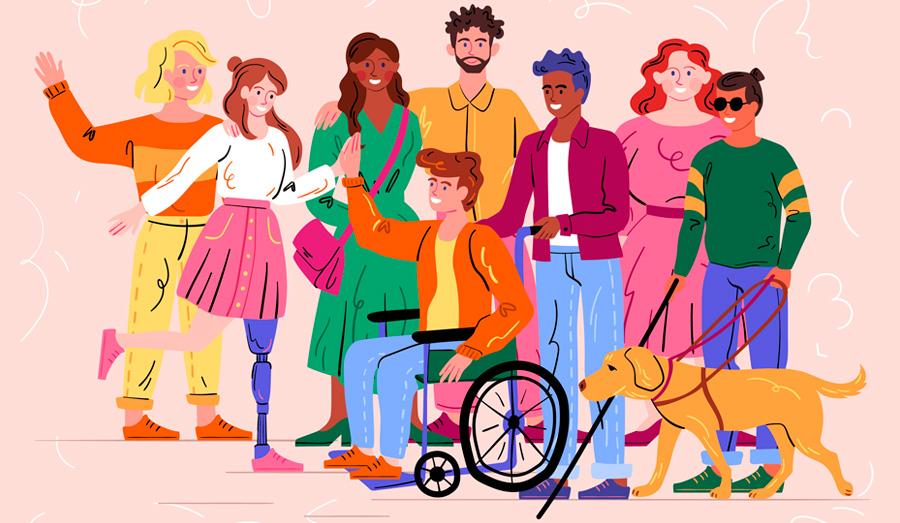 Ilustração em fundo rosa com oito pessoas, de gêneros e raças diferentes, com e sem deficiência e um cão guia