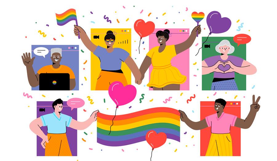 Desenho com bandeiras LGBTQIA+ e pessoas de mãos dadas