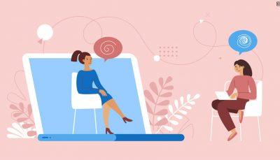 Desenho de mulheres representando o atendimento psicológico a distância