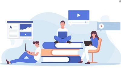 Ilustração em tons de azul escuro e azul claro mostram três estudantes. O da ponta esquerda está sentado com um notebook na perna e encostado em uma três livros, o que está centralizado na imagem está sentado nos livros, também com notebook no colo e na ponta esquerda está uma estudante sentada em uma cadeira laranja com o notebook no colo