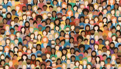 Desenhos de vários rostos representando a diversidade