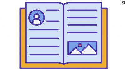 Desenho de um caderno aberto