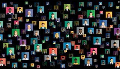 Ilustração em fundo preto com dezenas de rostos de pessoas de gêneros e raças diferentes
