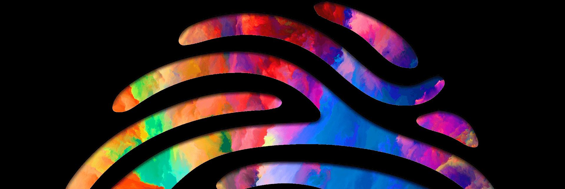 logomarca do festival da diversidade em formato de uma digital colorida
