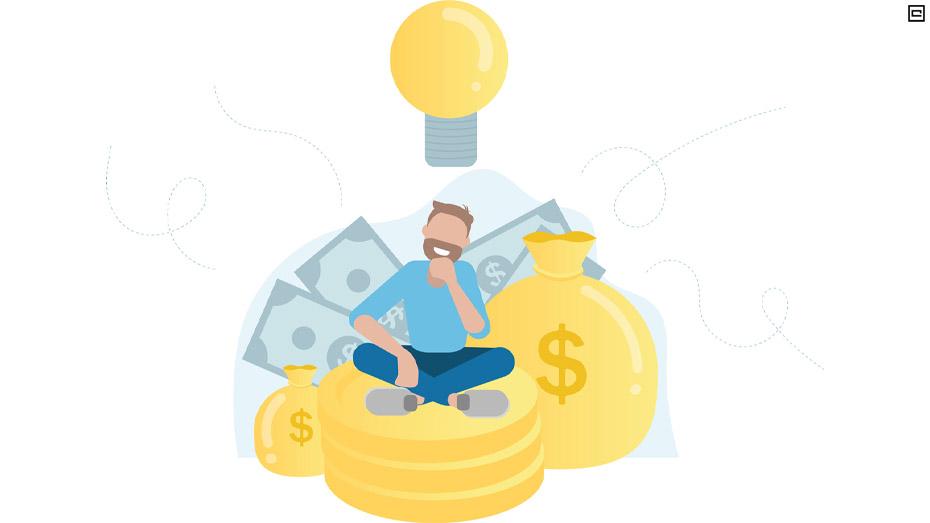 Desenho valorizando a educação financeira, com menino sentado em moedas e encostado em saco de dinheiro