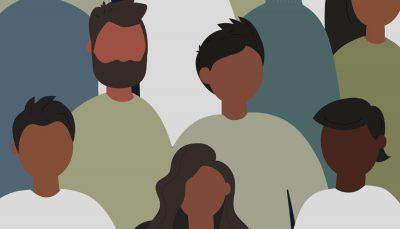 ilustração mostrando pessoas negras de diferentes origens