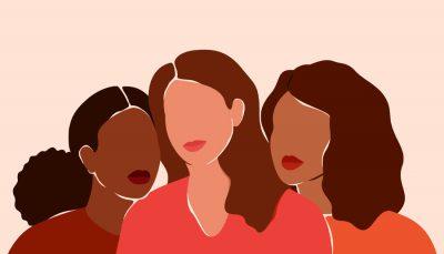 Desenho de três mulheres morenas, com cabelos grandes, em tons de rosa e marrom