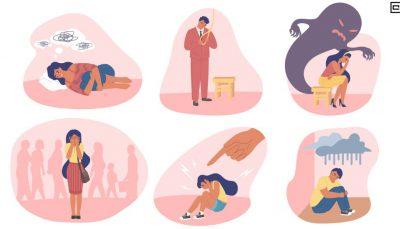 Ilustração que mostra situações de tristeza, depressão, ansiedade e falta de amparo