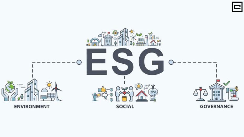 Sigla ESG de maneira explicada e sistematizada em ilustração com fundo branco