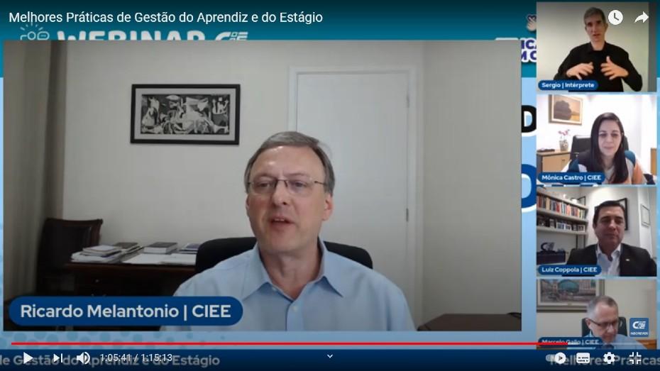 Ricardo Melantonio, intérprete de libras Sérgio, Mônica Vargas, Luiz Gustavo Coppola e Marcelo Gallo
