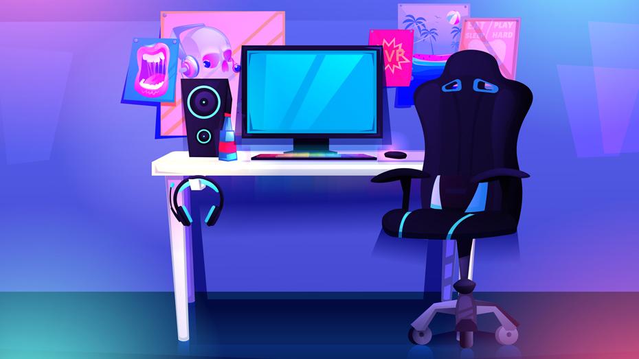 Ilustração com fundo azul, retrata uma mesa, com computador desktop sobre ela, cadeira preta com rodinhas ao lado e algumas desenhos colados na parede