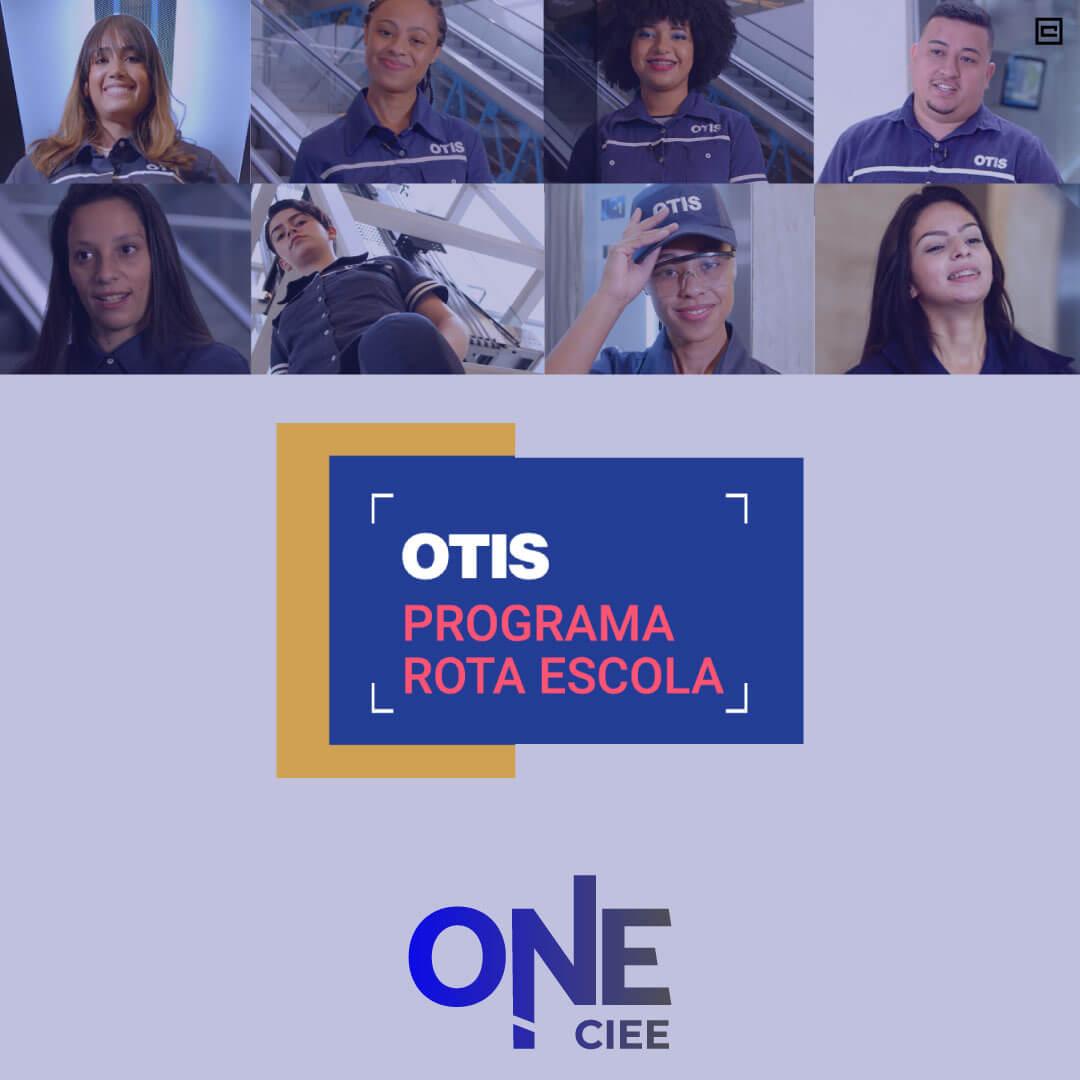 8 fotos de pessoas que participam do programa de estágio da empresa otis, uma ao lado da outra e logo abaixo quadro informativo do programa de estágio da Otis.